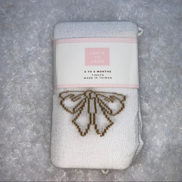 Janie and Jack Other - Janie and Jack Gold bow tights NWT 0-6 months